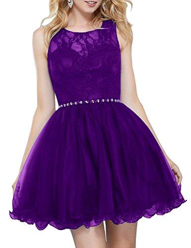 Besswedding Robes De Bal En Tulle De Femmes Court Lacets 2018 Robe De Bal Retour Bhs052 Violet