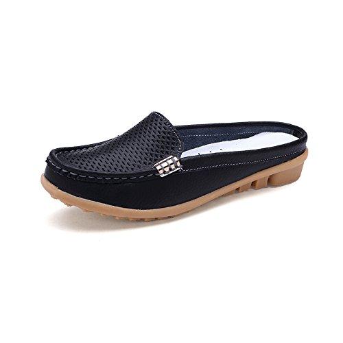 Womens Flat PU Casual Slippers Black - 5