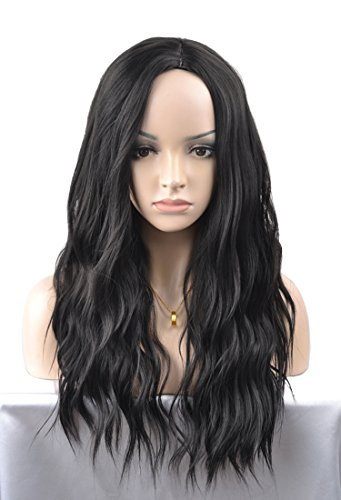 Long Parted Wig - MeriCino Natural Wavy Black Wigs Synthetic Long Middle Parted Curly Wig for Women