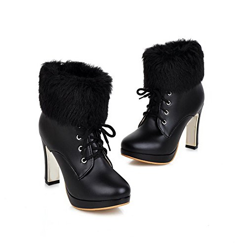 Allhqfashion Women's High-Heels Solid Round Closed Toe Soft Material Lace-up Boots Black iBwrn5l