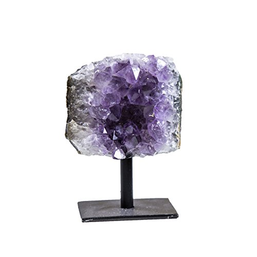 (Rock Paradise Amethyst Cluster Stone on Metal Stand - Healing Crystals and Stones - Home Décor Accents - Chakra Stones )