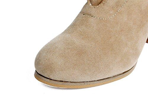 Cheville Hiver AgeeMi Lacet Solide Femme Daim Boots Bottes Talon Bloc Shoes x81qZx7
