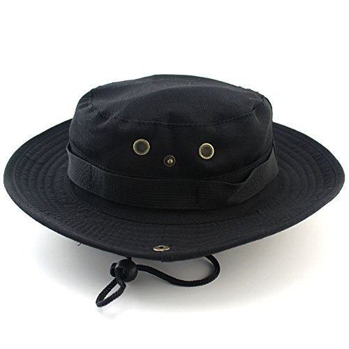 Girl Indiana Jones Costume (Efanr Unisex Leisure Bucket Cap Hats Outdoor Jungle Military Summer Sunscreen Wide Brim Round Hat for Climbing Fishing Hiking Camping (Black))