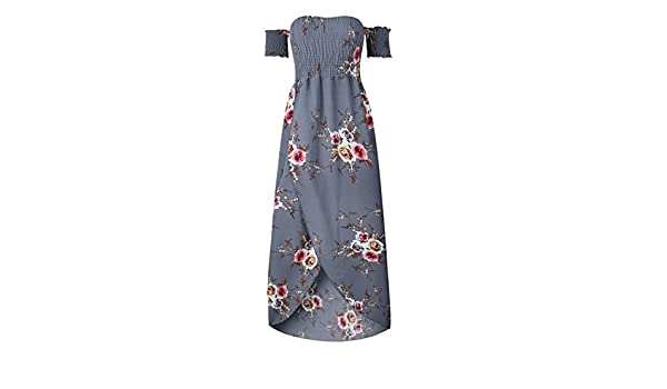 Boho Style Long Dress Women Off Shoulder Beach Summer Dresses Floral Print Vintage Chiffon White Maxi Dress Vestidos de Festa, Gray, 4XL, China at Amazon ...