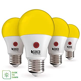 Sunco Lighting A19 LED Bulb,Yellow Bug Light, 9W, Auto On/Off, Dusk-to-Dawn Photocell Sensor, Bug Repellent/Bug Free, 2000K Amber Glow, Damp Location Patio, Deck, Backyard, Porch - 4 Pack