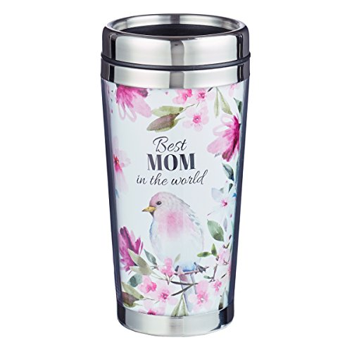 Best Mom Proverbs 31:28 Floral Travel Coffee Mug Thermal Tumbler with Design Wrap, Lid and Stainless Steel Interior (16oz Vacuum Insulated Break Resistant Polymer Exterior)