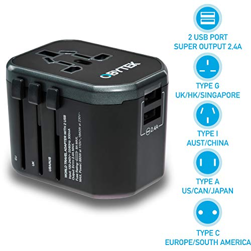 Portable Universal Travel Power Adapter Plug 2.4A - 2 x Fast-Charge USB Ports - Safe and Fireproof - International Wall Charger Adapter for Smartphone, Tablet and All Devices - Works in US/UK/EU/AU - Portable Power Adapter