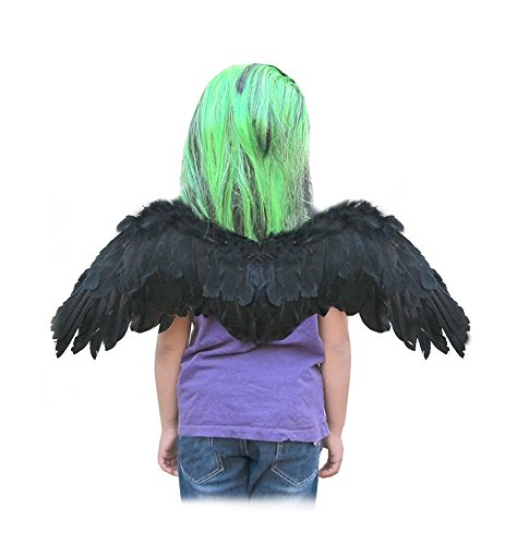 [SACASUSA (TM) Small Feather Angel Wings with Free Halo in Black for kids] (Maleficent Toddler Costumes)
