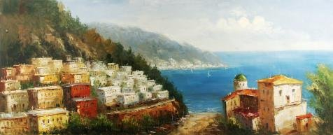 'View Of A Town By The Sea' Oil Painting, 8x20 Inch / 20x50 Cm ,printed On High Quality (Praying Girl Snow Globe)