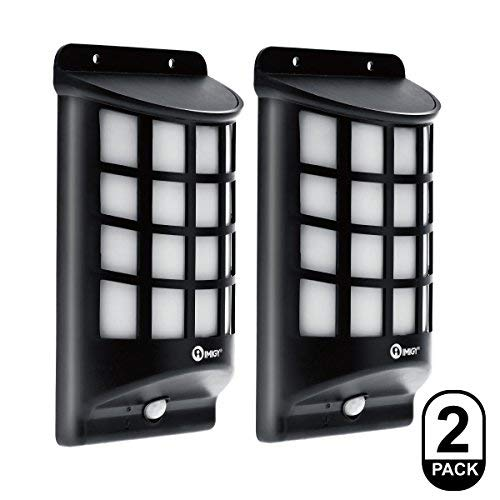 IMIGY Solar Lights, IP65 Waterproof Outdoor Wall Lights, Dark Sensor Auto On/Off Solar Powered Wall Mounted Night Light Lattice Design for Garden Pathway Door Patio Deck Yard Driveway (2 Pack) [並行輸入品] B07R7RFKSC