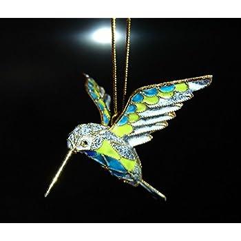 New Cloisonne Hummingbird Suncatcher Enameled Hanging Bird Christmas Ornament B1