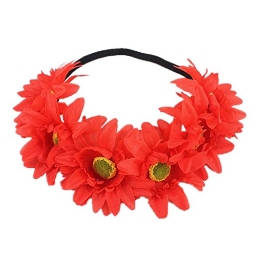 DreamLily Rainbow Sunflower Flower Crown Pride Party Rainbow Daisy Headband Floral Crown Headpiece NC15 (Red)