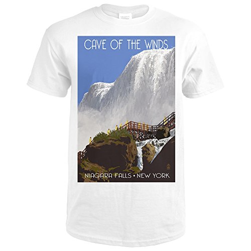 Niagara Falls, New York - Cave of the Winds Close Up (Premium White T-Shirt X-Large) (Cave Of The Winds Niagara Falls New York)