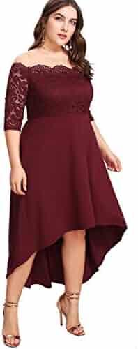 2857f849c102 Floerns Women's Plus Size Vintage Lace Dip High Low Cocktail Party Dress