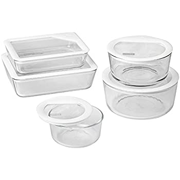Incroyable Pyrex 10 Piece Ultimate Food Storage Set, White/Clear