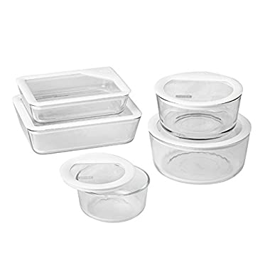Pyrex 1122762 071160096400 10 Piece Ultimate Food Storage Set, White/Clear