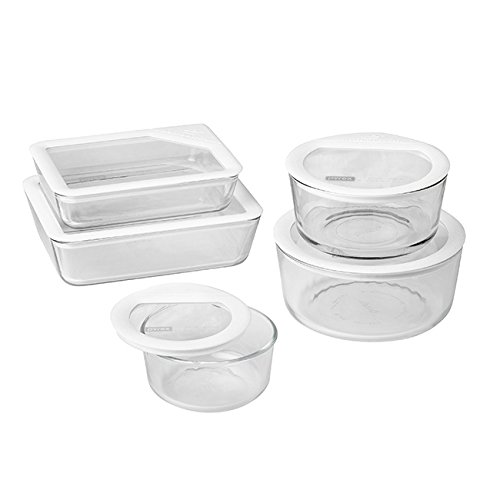 Pyrex 1122762 071160096400 10 Piece Ultimate Food Storage Set, White/Clear (Pyrex 10 Piece Storage Set With Lid)