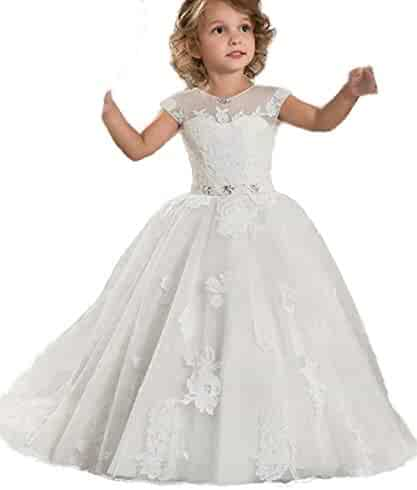 cf2d749e27 HEVECI Girls Pageant Dresses with Sleeves Lace Sheer Neck Flower Girl Dress  for Wedding Ball Gowns