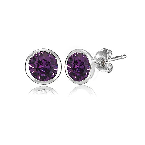Sterling Silver 5mm Bezel-set Martini Purple Stud Earrings created with Swarovski Crystals