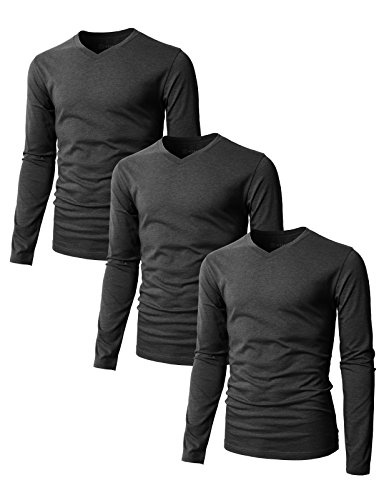 H2H Mens Basic T-Shirts with V-Neck Long Sleeve CHARCOAL US S/Asia M (SET3KMTTL0374),3 pack