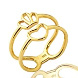 Mr. Bling 10K Yellow Gold Heart and Crown Geometric Design Ring, Available in Sizes 5-9 (7)