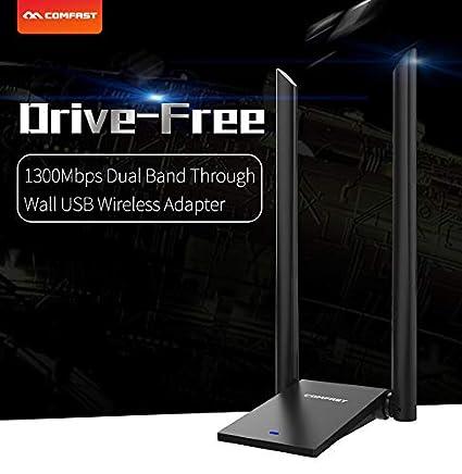 Eleganantamazing COMFAST - Adaptador inalámbrico USB WiFi de Largo Alcance (150/600/1300 mbps, 802.11b/g/n, Tarjeta de Red USB Dongle) CF-WU782AC