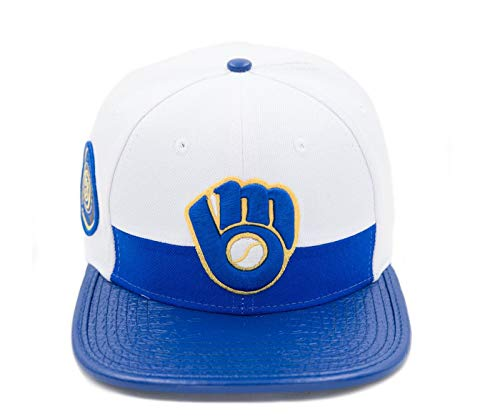 PRO-STANDARD Milwaukee Brewers Official MLB Horizon White/Royal 3M Reflective Side Patch Premium Leather Flex Strap Cap (Baseball Milwaukee Brewers White)