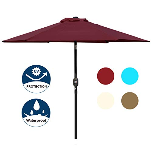 Blissun 7.5 ft Outdoor Market Patio Umbrella with Push Button Tilt and Crank (Red) ()