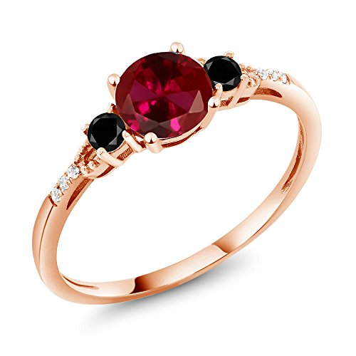 Gem Stone King 1.17 Ct Round Red Created Ruby Black Diamond 10K Rose Gold Ring (Size 7)