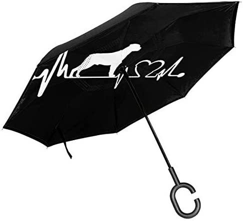 sfdgd Rottweiler Heartbeat Car Reverse Inverted Parapluie Double Layer UV Protection & Rain Parapluie Coupe-Vent for Travelling and Car Use