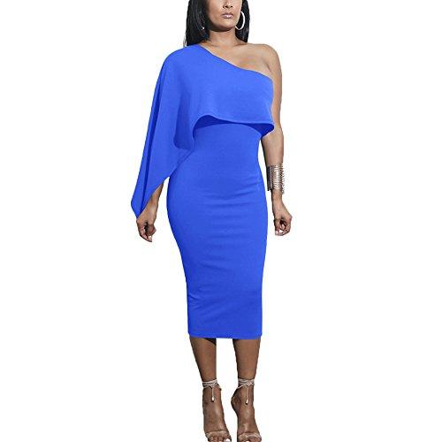 Spalla Midi Aderente Matita Blu Luminoso Dell'increspatura Vestito Solido Una Chicfor Donne 5HYx0g5