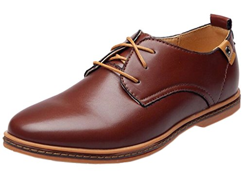 DADAWEN Men's Modern Classic Lace Up Leather Dress Oxfords Shoes Brown US Size 10.5