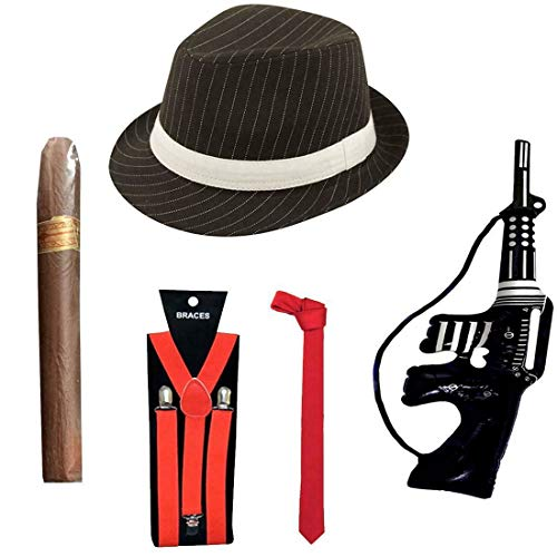 My Choice Stuff Gangster Hat Fake Cigar Red Neck Tie Braces Toy Machine Gun Set Gangster Dress Accessory One Size Fits Most
