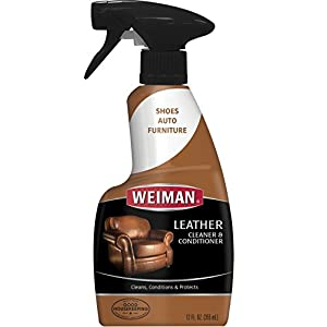 Weiman Leather Cleaner and Conditioner UV Protection Help Prevent Cracking or Fading of Leather Couches, Car Seats, Shoes, Purses - 12 Fluid Ounces