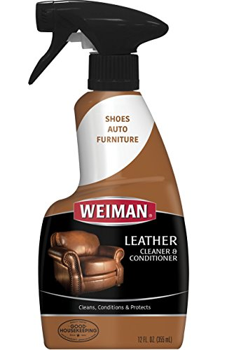 Weiman Leather Cleaner & Conditioner - Gentle Formula Cleans, Conditions and Restores Leather Surfaces - UV Protectants Help Prevent Cracking or Fading of Leather Couches, Car Seats, Shoes, Purses and More - 12 fl. oz.