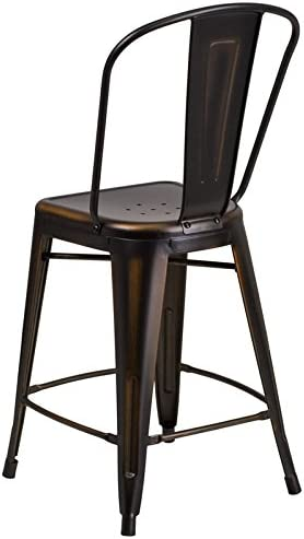 Oliver 24 H Distressed Copper Metal Indoor-Outdoor Counter Stool Emma