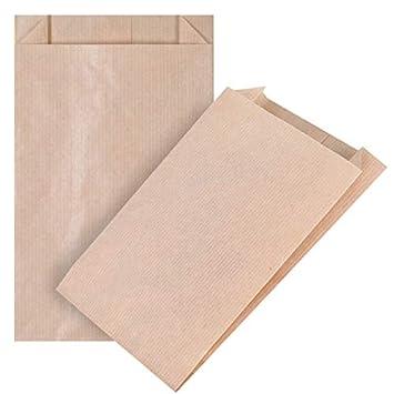 100 marrón fuerza bolsas de papel 12+(2x2)/20 cm, 40 gr./m2 ...