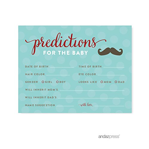 Andaz Press Lil Man Mustache Boy Baby Shower Collection Games Activities Decorations Predictions for Baby Cards 20pack