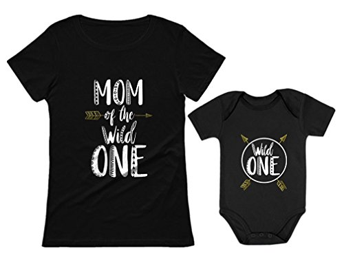 1st T-shirt - Wild One Mom & Baby 1st Birthday Baby Bodysuit & Women's T-Shirt Matching Set Mom Black XX-Large/Baby Black 24M (18-24M)