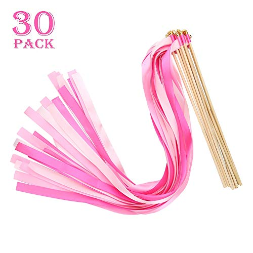 Sandalas 30 Pack Ribbon Wands Wedding Ribbon Streamers with Bell Fairy Stick for Wedding Party (Pink) -