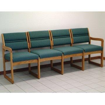 Sled Base Quad Sofa in Medium Finish Solid Oak Frame (Foliage Green)