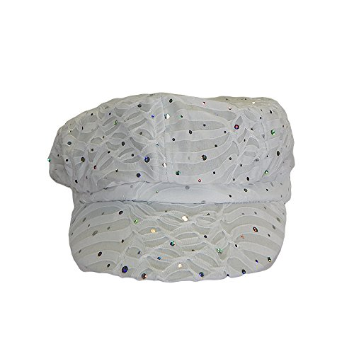 Something Special Womens Soft Glitter Bling Disc Sequins Shiny Newsboy Hat Cap (White)