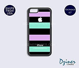 Case Cover For Apple Iphone 6 Plus 5.5 Inch model - Black Purple Green Stripes