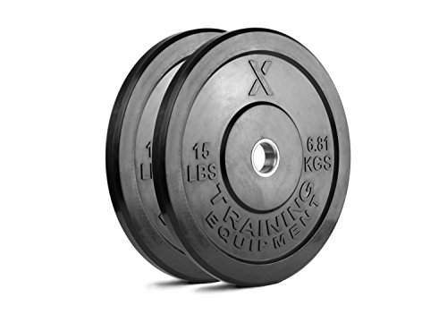 (X Training Equipment 15lb Black Bumper Plate Pair Solid Rubber with Steel Insert - Great for Crossfit Workouts - (2 X 15 lb Pound Plates) )