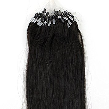 - 100s 16'' 18'' 20'' 22'' 24'' 26'' Loops Micro Rings Beads Tipped Remy Human Hair Extensions Straight 10 Colors in Women Beauty Style (16inch 0.4g/s 100s each pack, #1B with brownish)
