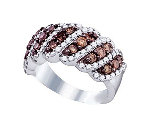 Brandy Diamond Chocolate Brown 10k White Gold Stunning Wave Design Ring 1 1/2 Ctw.