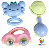 Toys Bhoomi Infant and Toddlers Bright and Colorful 3 Piece Baby Musical Rattle Playset - BPA free, 100% SAFE & NON-TOXIC