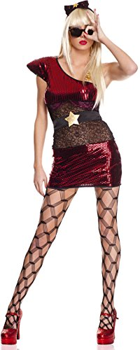 [ToBeInStyle Women's 4 Pc Asymmetrical Metallic Lady Pop Star Dress Includes - XS] (Womens Material Pop Star Costumes)