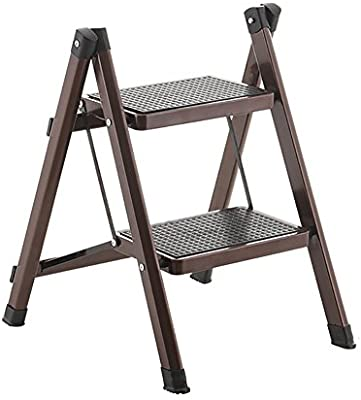 CAOYU Escalera Plegable casera, Taburete de Escalera de Doble Uso de Doble Uso, Escalera de pie de Dos Pasos, Escalera de Hierro. Taburete de la casa (Color : Color Cafe): Amazon.es: Hogar