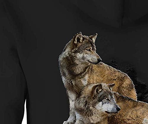 Wolf Zip Up Hoodie Night Wolves Hooded Sweatshirt for Men